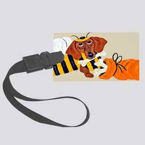 Dachshund Trick Or Treat Bee Large Luggage Tag