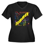 SUMMER Women's Plus Size V-Neck Dark T-Shirt