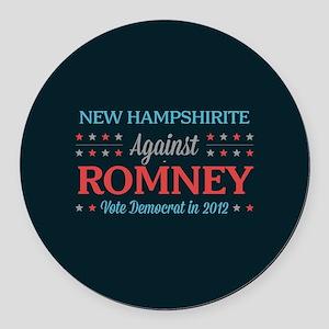 New Hampshirite Against Romney Round Car Magnet