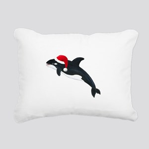 Christmas Whale Rectangular Canvas Pillow