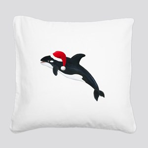 Christmas Whale Square Canvas Pillow