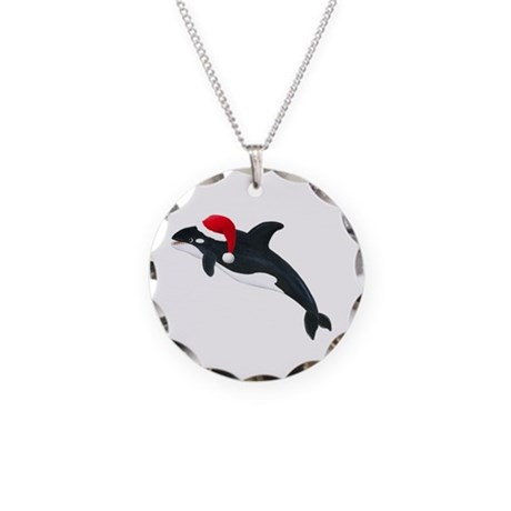 Christmas Whale Necklace Circle Charm