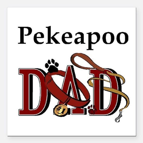 "pekeapoo dad darks.png Square Car Magnet 3"" x 3"""