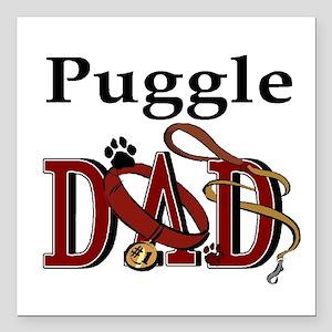 "puggle dad trans.png Square Car Magnet 3"" x 3"""