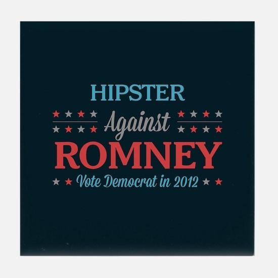 Hipster Against Romney Tile Coaster
