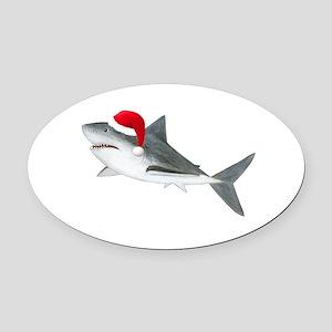Christmas - Santa Shark Oval Car Magnet