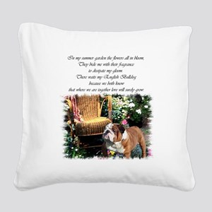 bulldog garden 2 Square Canvas Pillow