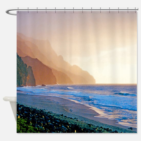 Kalalau Beach Sunset Tropical Shower Curtain