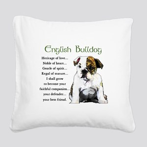 English Bulldog Square Canvas Pillow