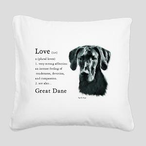 Black Great Dane Square Canvas Pillow