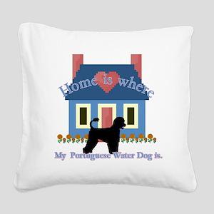 Portuguese Water Dog Square Canvas Pillow
