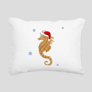 Santa Seahorse Rectangular Canvas Pillow