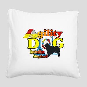 Australian Shepherd Agility Square Canvas Pillow