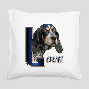 Bluetick Coonhound Love Square Canvas Pillow