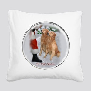 Golden Retriever Christmas Square Canvas Pillow