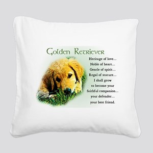 golden retriever puppy Square Canvas Pillow