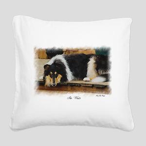 Tri Color Collie Square Canvas Pillow