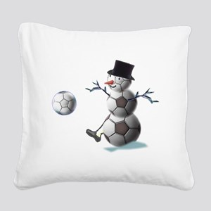 SNOWSOCCERMANTOPHAT Square Canvas Pillow