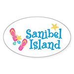 Sanibel Island Flip-Flops Oval Sticker