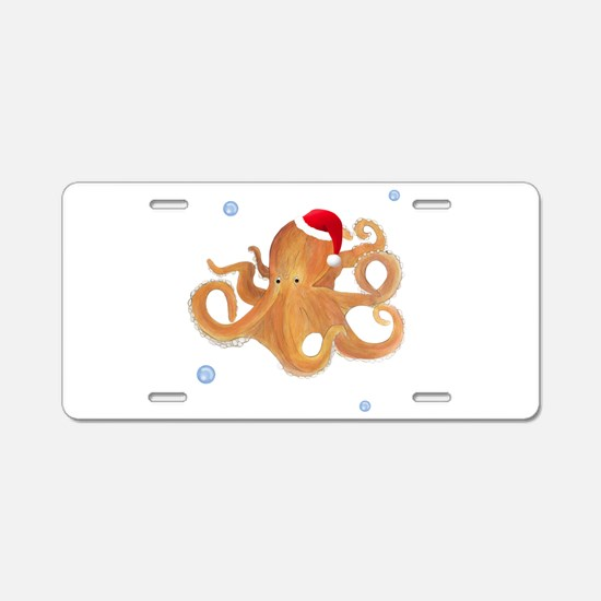 Christmas Octopus Aluminum License Plate