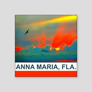 Bright sunset over Anna Maria Island Square Sticke