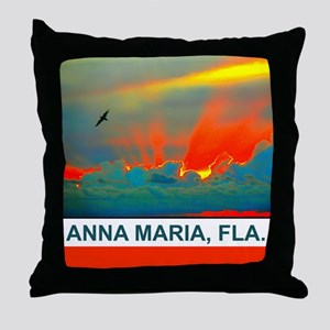 Bright sunset over Anna Maria Island Throw Pillow