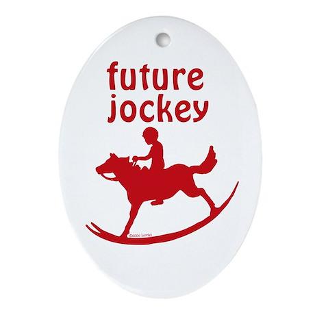 Future Jockey (red) Oval Ornament