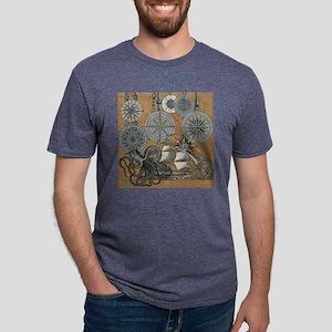 Vintage Octopus Sailing Shi Mens Tri-blend T-Shirt