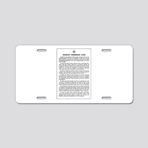 Masonic Membership Card Aluminum License Plate