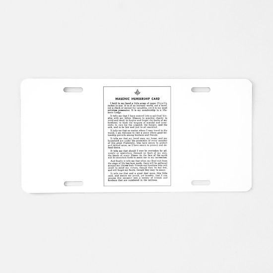 Masonic Membership Card Aluminum License Plate