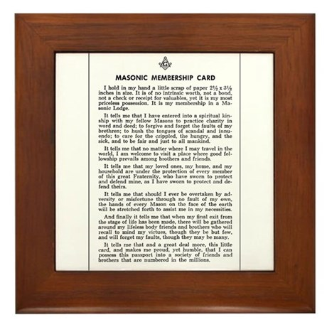 Masonic Membership Card Framed Tile