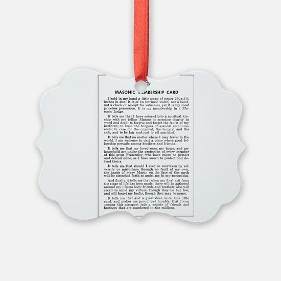 Masonic Membership Card Ornament