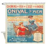 Vintage French Nautical Seashore Shower Curtain