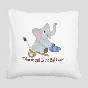 Baseball - Elephant Square Canvas Pillow