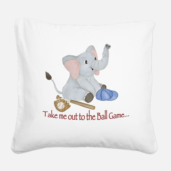 Baseball - Elephant Square Canvas Pillow