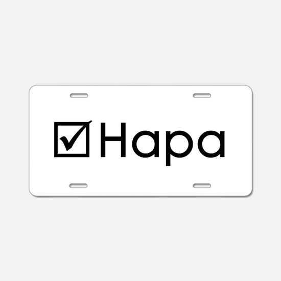 Check Hapa Aluminum License Plate