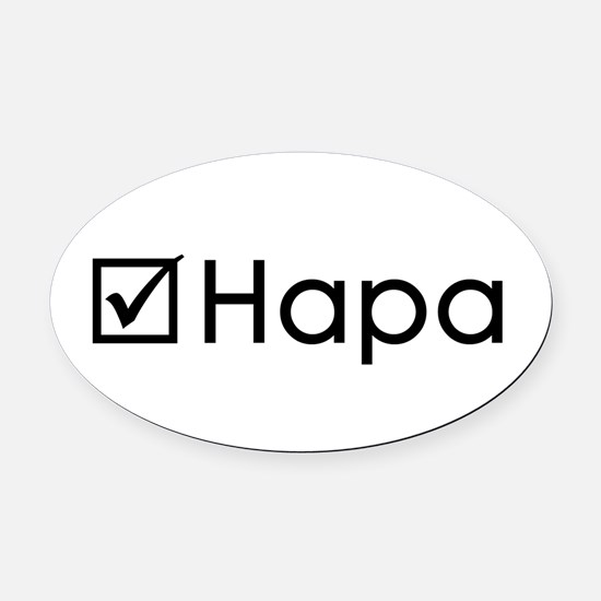 Check Hapa Oval Car Magnet