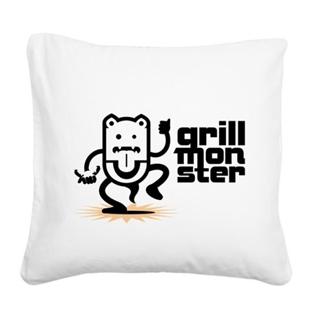 Grilling BBQ Monster Square Canvas Pillow