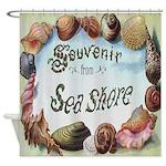 Vintage Seashore Souvenir Shower Curtain