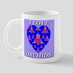 I Love Orchids Blue Heart Mug