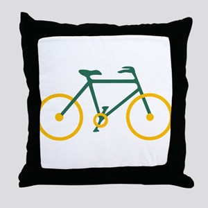 Green and Gold Cycling Throw Pillow