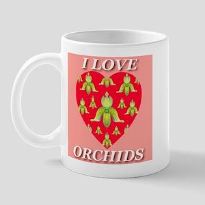 I Love Orchids Red Heart Mug