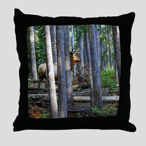Bull Elk in forest Throw Pillow