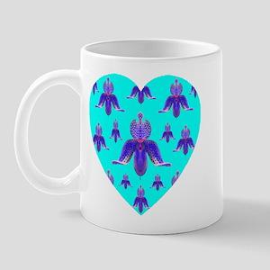 Skyblue Orchid Heart Mug