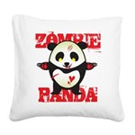 Zombie Panda Square Canvas Pillow