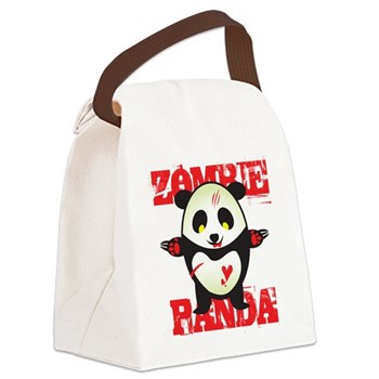 Zombie Panda Canvas Lunch Bag