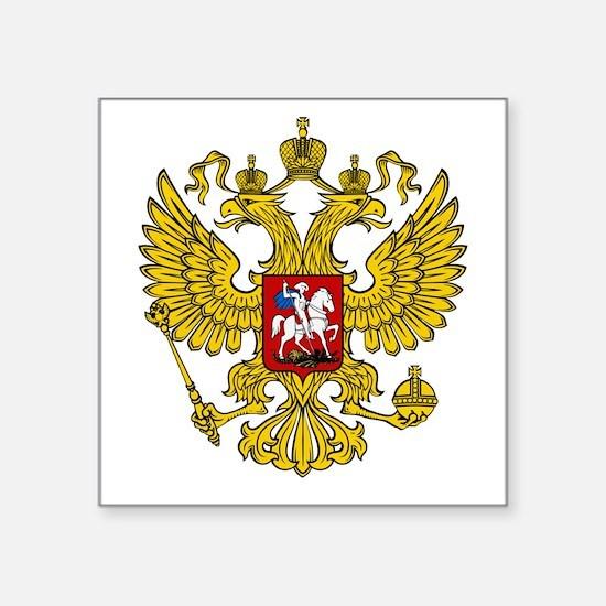 """Russian Eagle Square Sticker 3"""" x 3"""""""