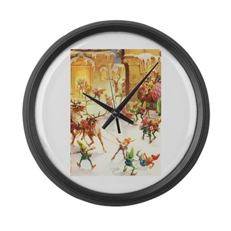 Santa's Elves in the North Pole Large Wall Clock