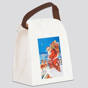 Santa Up On the Rooftop Canvas Lunch Bag