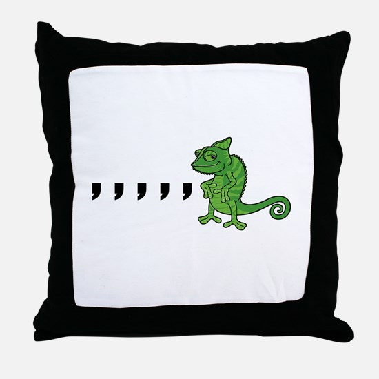 Comma Chameleon Throw Pillow